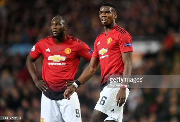 Paul Pogba and Romelu Lukaku of Manchester United look on during the UEFA Champions League Quarter Final first leg match between Manchester United...