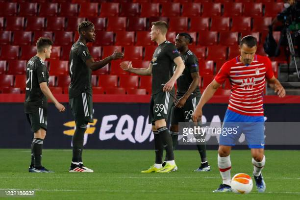 Paul Pogba and Scott Mctominay of Manchester United during the UEFA Europa League Quarter Final leg one match between Granada CF and Manchester...