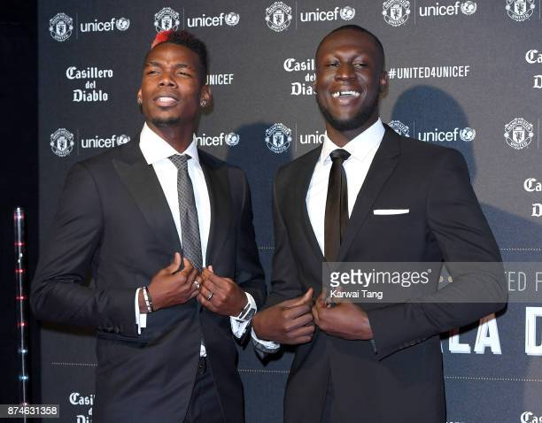 Paul Pogba and Stormzy attend the United for Unicef Gala Dinner at Old Trafford on November 15 2017 in Manchester England