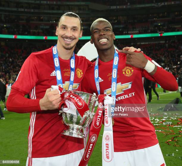 Paul Pogba and Zlatan Ibrahimovic of Manchester United celebrate after the EFL Cup Final match between Manchester United and Southampton at Wembley...