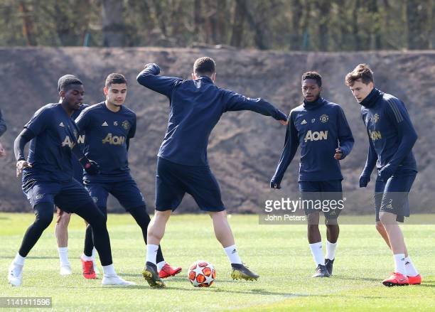 Paul Pogba Andreas Pereira Diogo Dalot Fred and Victor Lindelof of Manchester United in action during a first team training session at Aon Training...