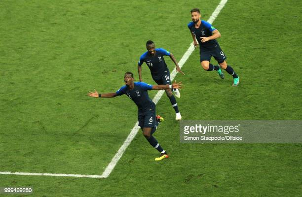 Paul Pogba celebrates the third goal for France with Blaise Matuidi of France and Olivier Giroud of France during the 2018 FIFA World Cup Russia...