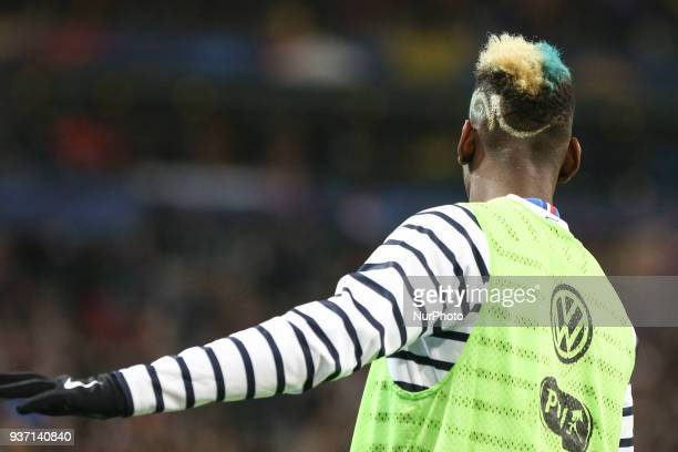 Paul Pogba during the friendly football match between France and Colombia at the Stade de France in SaintDenis on the outskirts of Paris on March 23...
