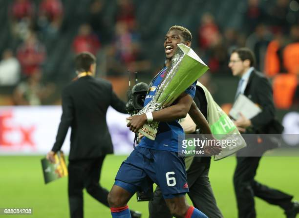 Paul Pogba during the UEFA Europa League Final match between Ajax and Manchester United at Friends Arena on May 24 2017 in Stockholm Sweden