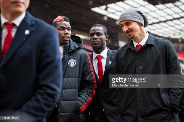 Paul Pogba Eric Bailly and Zlatan Ibrahimovic of Manchester United attend a service to commemorate the 60th anniversary of the Munich Air Disaster at...