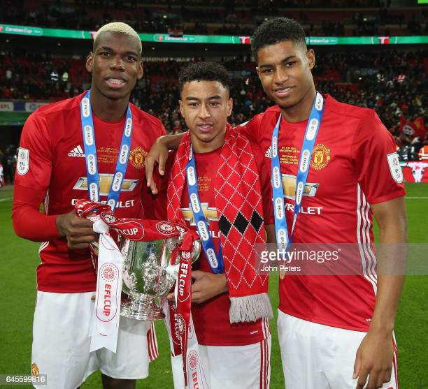 Paul Pogba Jesse Lingard and Marcus Rashford of Manchester United celebrates after the EFL Cup Final match between Manchester United and Southampton...