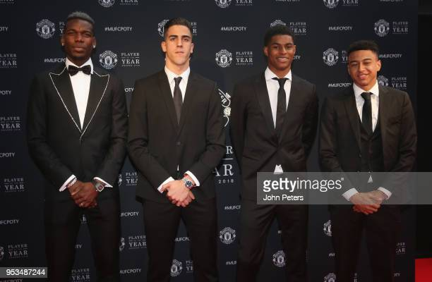 Paul Pogba Joel Pereira Marcus Rashford and Jesse Lingard of Manchester United arrive at Old Trafford ahead of the club's annual Player of the Year...