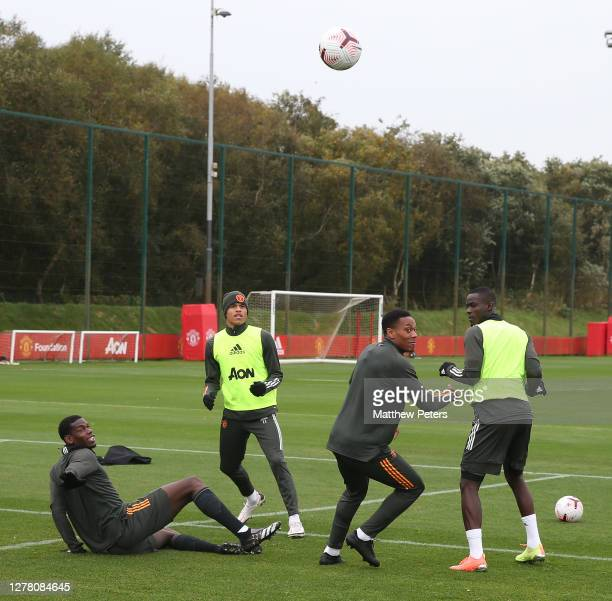 Paul Pogba Mason Greenwood Anthony Martial Eric Bailly of Manchester United in action during a first team training session at Aon Training Complex on...