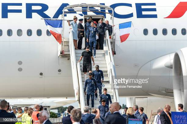 Paul Pogba Nabil Fekir Corentin Tolisso Adil Rami Ngolo Kante Thomas Lemar and Lucas Hernandez of France during the arrival at Airport Roissy Charles...
