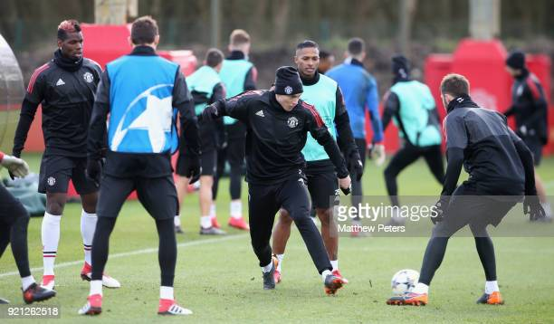 Paul Pogba Nemanja Matic Victor Lindelof Antonio Valencia and Michael Carrick of Manchester United in action during a first team training session at...