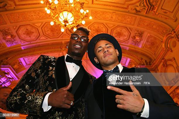 Paul Pogba of France and Juventus poses with FIFA Ballon d'Or nominee Neymar of Brazil and Barcelona prior to the FIFA Ballon d'Or Gala 2015 at the...