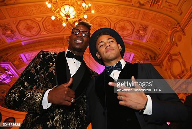 Paul Pogba of France and Juventus poses with FIFA Ballon d'Or nominee Neymar of Brazil and Barcelona during the FIFA Ballon d'Or Gala 2015 at the...