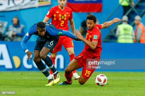 Paul Pogba of France and Moussa Dembele of Belgium battle for the ball during the 2018 FIFA World Cup Russia Semi Final match between France and...