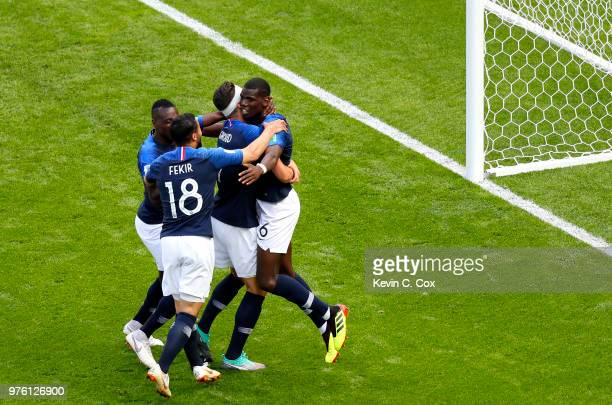 Paul Pogba of France celebrates after scoring his side's second goal with teammates during the 2018 FIFA World Cup Russia group C match between...
