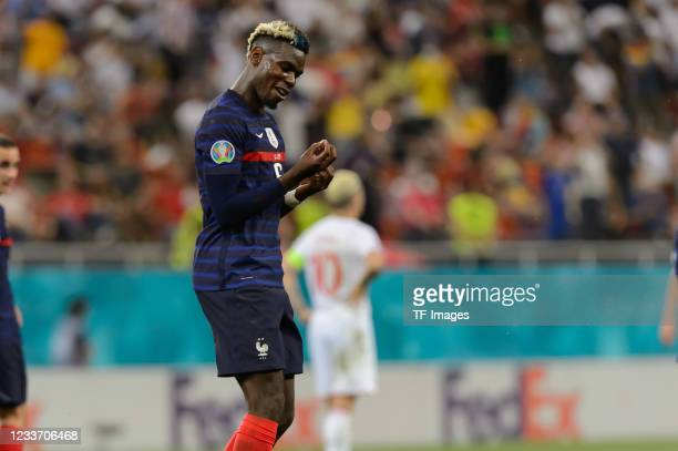 Paul Pogba of France celebrates after scoring his team's third goal during the UEFA Euro 2020 Championship Round of 16 match between France and...