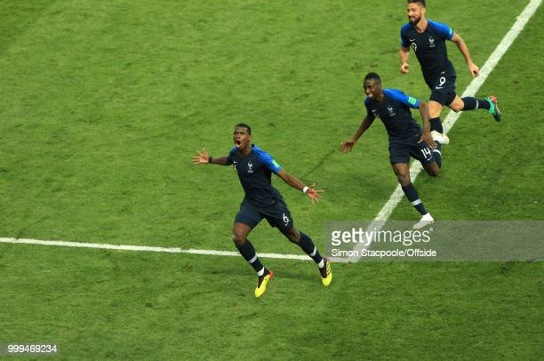 Paul Pogba of France celebrates after scoring the third goal of his team during the 2018 FIFA World Cup Russia Final between France and Croatia at...