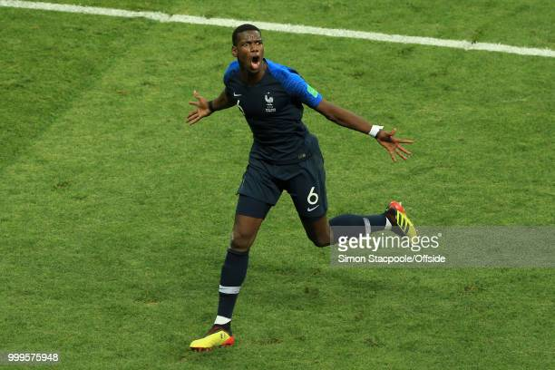 Paul Pogba of France celebrates after scoring their 3rd goal during the 2018 FIFA World Cup Russia Final between France and Croatia at the Luzhniki...