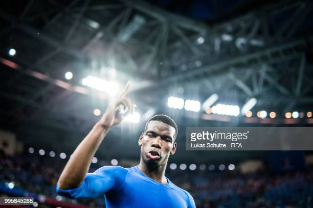 Paul Pogba of France celebrates after the 2018 FIFA World Cup Russia Semi Final match between Belgium and France at Saint Petersburg Stadium on July...