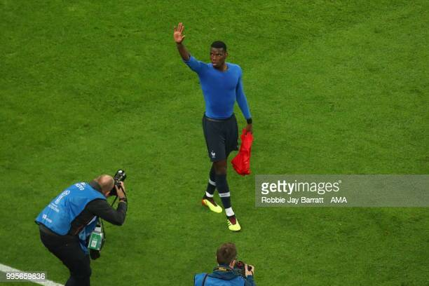 Paul Pogba of France celebrates at full time during the 2018 FIFA World Cup Russia Semi Final match between Belgium and France at Saint Petersburg...