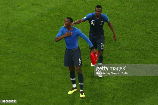 Paul Pogba of France celebrates at full time with Blaise Matuidi of France during the 2018 FIFA World Cup Russia Semi Final match between Belgium and...