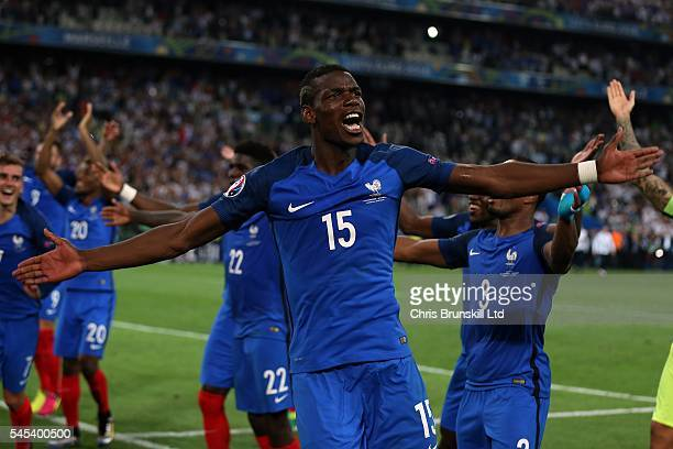 Paul Pogba of France celebrates at fulltime following the UEFA Euro 2016 Semi Final match between Germany and France at Stade Velodrome on July 07...