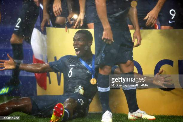 Paul Pogba of France celebrates at the end of the 2018 FIFA World Cup Russia Final between France and Croatia at Luzhniki Stadium on July 15 2018 in...