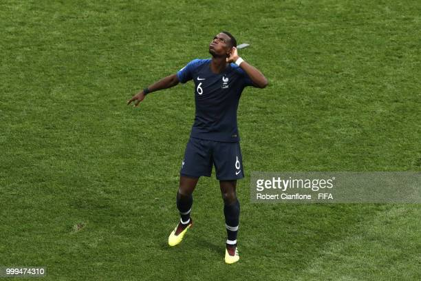 Paul Pogba of France celebrates following his sides victory in the 2018 FIFA World Cup Final between France and Croatia at Luzhniki Stadium on July...