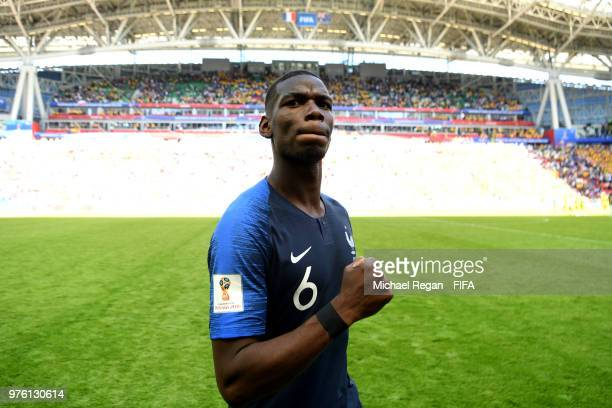 Paul Pogba of France celebrates following the 2018 FIFA World Cup Russia group C match between France and Australia at Kazan Arena on June 16 2018 in...
