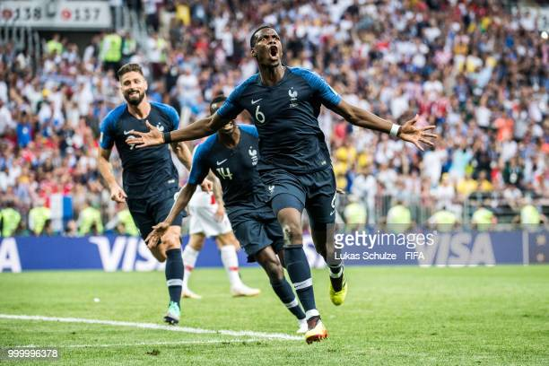 Paul Pogba of France celebrates his goal during the 2018 FIFA World Cup Russia Final between France and Croatia at Luzhniki Stadium on July 15 2018...