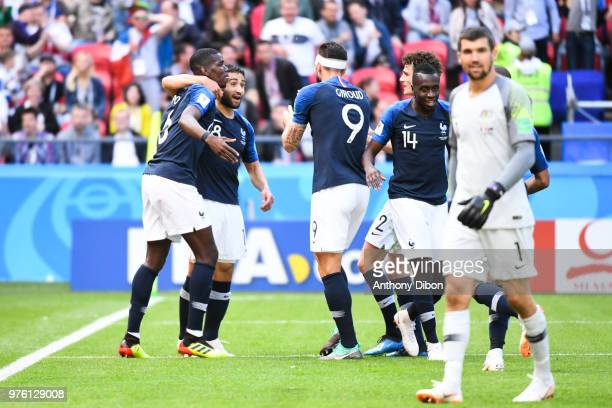 Paul Pogba of France celebrates his goal with Nabil Fekir of France during the 2018 FIFA World Cup Russia group C match between France and Australia...