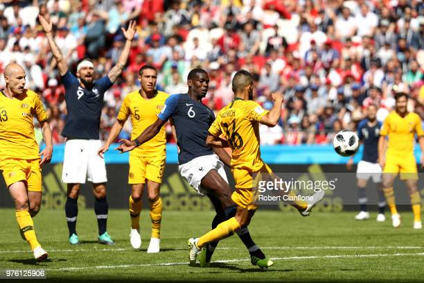 Paul Pogba of France celebrates scores his sides second goal as ball deflects of Aziz Behich during the 2018 FIFA World Cup Russia group C match...