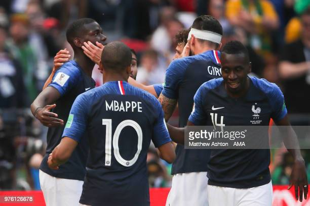 Paul Pogba of France celebrates scoring a goal to make it 21 during the 2018 FIFA World Cup Russia group C match between France and Australia at...