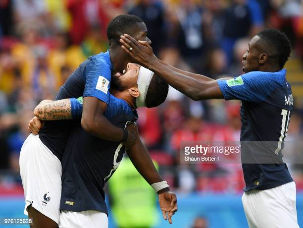 Paul Pogba of France celebrates scoring his sides second goal with Olivier Giroud during the 2018 FIFA World Cup Russia group C match between France...