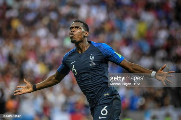 Paul Pogba of France celebrates scoring his team's third goal during the 2018 FIFA World Cup Final between France and Croatia at Luzhniki Stadium on...