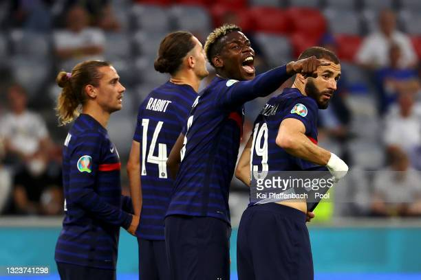 Paul Pogba of France celebrates their side's first goal, an own goal by Mats Hummels of Germany during the UEFA Euro 2020 Championship Group F match...