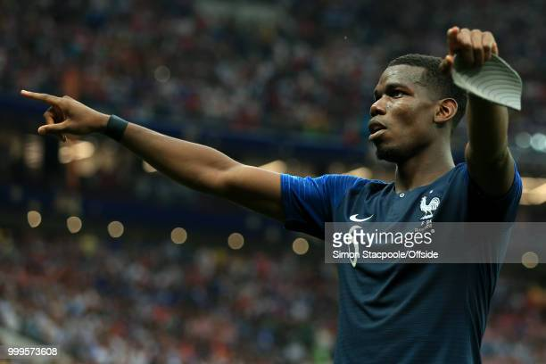Paul Pogba of France celebrates victory after the 2018 FIFA World Cup Russia Final between France and Croatia at the Luzhniki Stadium on July 15 2018...