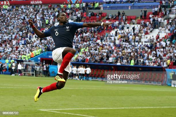 Paul Pogba of France celebrates victory following the 2018 FIFA World Cup Russia Round of 16 match between France and Argentina at Kazan Arena on...