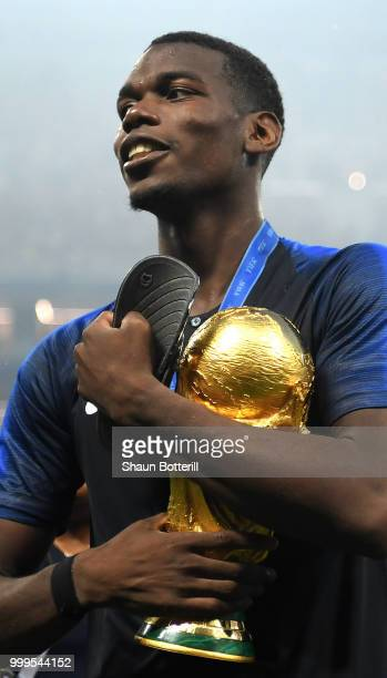 Paul Pogba of France celebrates victory following the 2018 FIFA World Cup Final between France and Croatia at Luzhniki Stadium on July 15 2018 in...