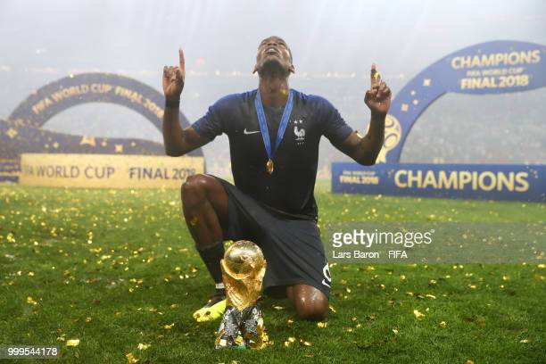 Paul Pogba of France celebrates victory following the 2018 FIFA World Cup Final between France and Croatia at Luzhniki Stadium on July 15, 2018 in...