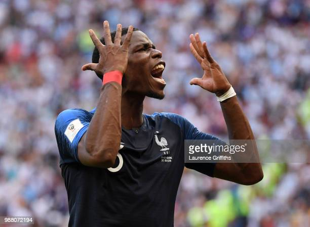 Paul Pogba of France celebrates victory on the final whistle during the 2018 FIFA World Cup Russia Round of 16 match between France and Argentina at...