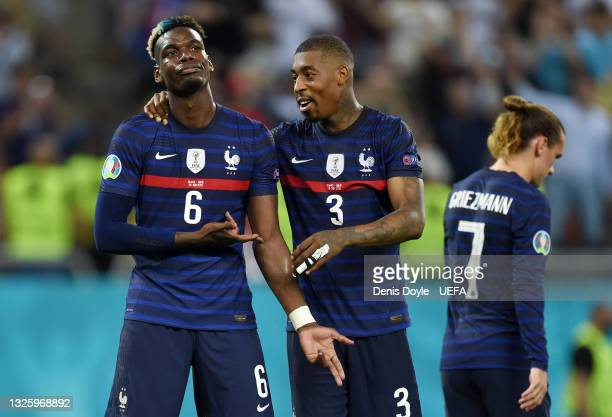Paul Pogba of France celebrates with Presnel Kimpembe after scoring their side's third goal during the UEFA Euro 2020 Championship Round of 16 match...