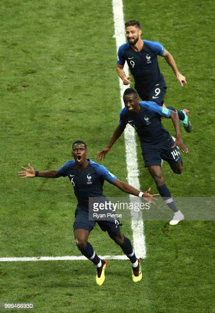 Paul Pogba of France celebrates with team mates after scoring his team's second goal during the 2018 FIFA World Cup Final between France and Croatia...