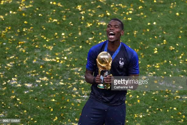 Paul Pogba of France celebrates with the trophy after the 2018 FIFA World Cup Russia Final between France and Croatia at Luzhniki Stadium on July 15...