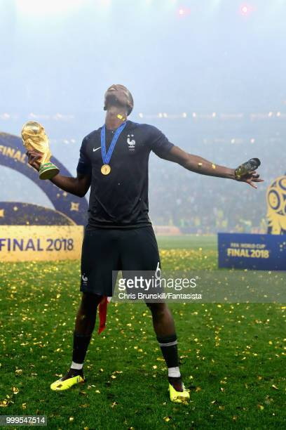 Paul Pogba of France celebrates with the World Cup after the 2018 FIFA World Cup Russia Final between France and Croatia at Luzhniki Stadium on July...