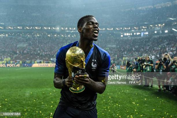 Paul Pogba of France celebrates with the World Cup Trophy following his side victory in the 2018 FIFA World Cup Russia Final between France and...