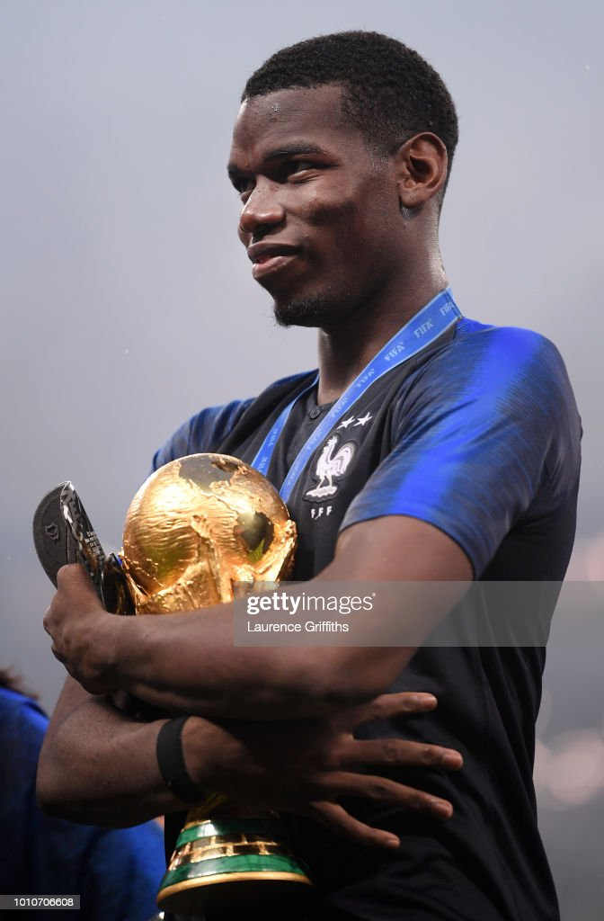 Paul Pogba of France celebrates with the World Cup Trophy following the 2018 FIFA World Cup Russia Final between France and Croatia at Luzhniki Stadium on July 15, 2018 in Moscow, Russia.