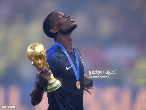 Paul Pogba of France celebrates with the World Cup Trophy following the 2018 FIFA World Cup Russia Final between France and Croatia at Luzhniki...