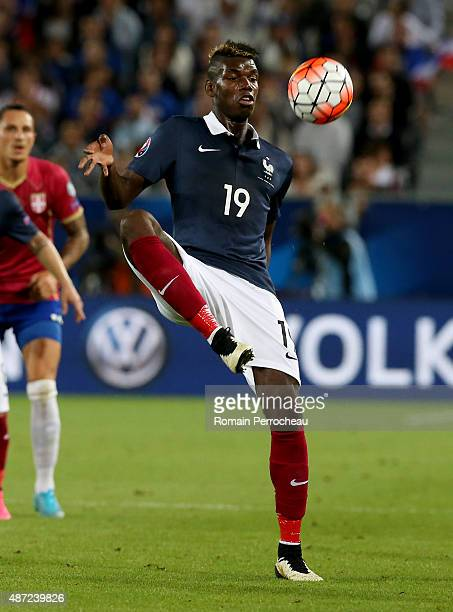 Paul Pogba of France controls the ball during the International Friendly game between France and Serbia on September 7 2015 in Bordeaux France
