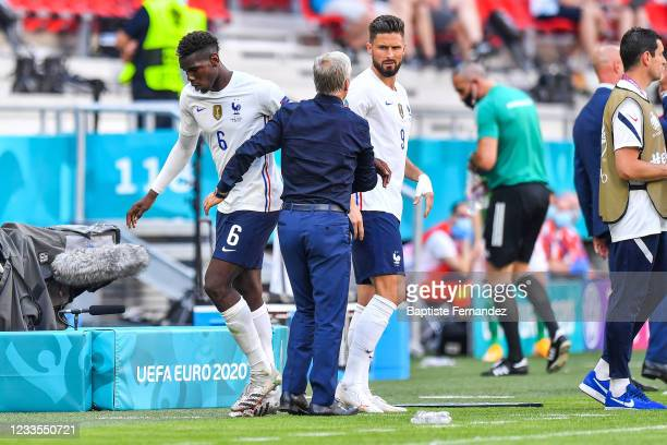 Paul POGBA of France, Didier DESCHAMPS head coach of France and Olivier GIROUD of France during the UEFA European Championship football match between...