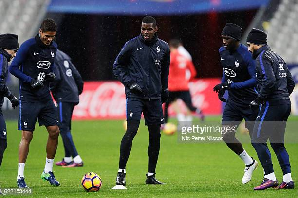 Paul Pogba of France during a training session ahead of the FIFA 2018 World Cup Qualifier between France and Sweden at Stade de France on November 10...